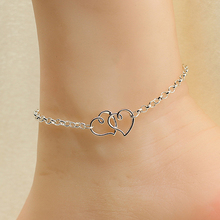 Hot Women's Double Love Heart Chain Beach Sandal Ankle Bracelet Anklet Foot Jewelry