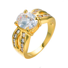 Big Rings For Women Trendy Jewelry Yellow Gold Filled White Zircon Crystal Unusual Ring Wedding Party Gift Bague Femme RY0173