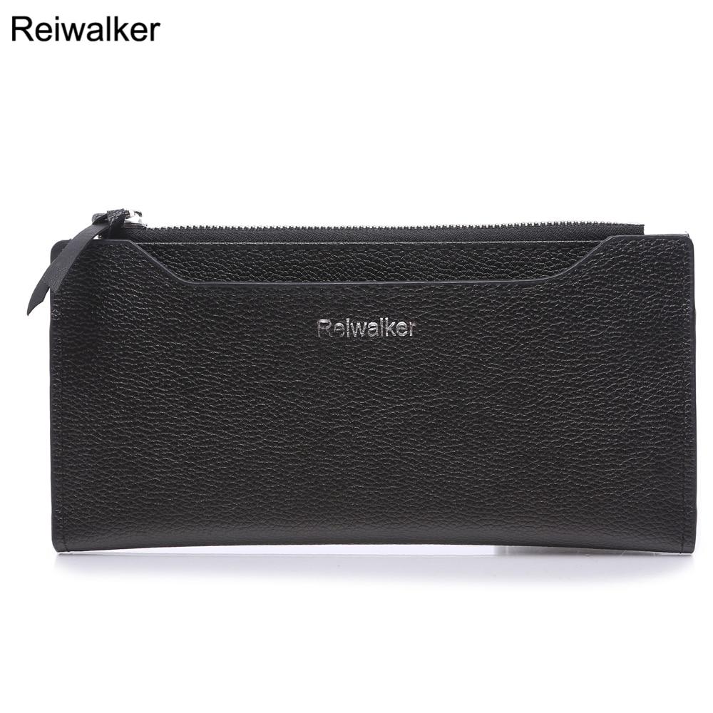 Reiwalker Women Wallets 2017 New Design Long Purse Genuine Leather Simple Style Female Large Capacity Zipper Purse<br><br>Aliexpress