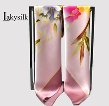 [Lakysilk]100%Pure Silk Women Square Scarves Floral Printing Bandana ladies Hand Drawing Silk Head Scarf for Summer 110*110cm
