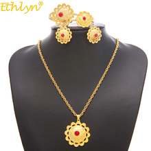 Ethlyn Jewelry Ethiopian/Eritrean Bride Gold Color Jewelry Sets With Stone African Ethnic Gifts Habesha Wedding Giving S197(China)