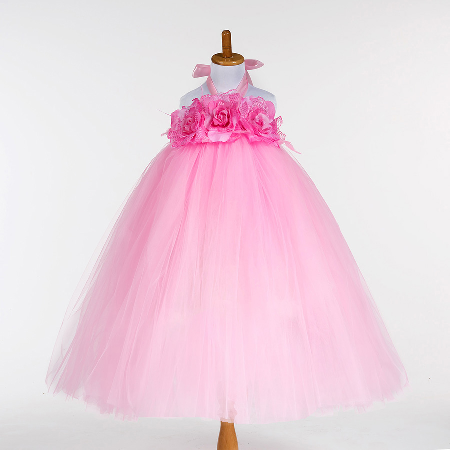Pink,Purple,Beige Baby Girls Children Kids Tulle Flower Tutu Dress Festival Birthday Wedding Party Gowns Flower Girl Dresses<br><br>Aliexpress