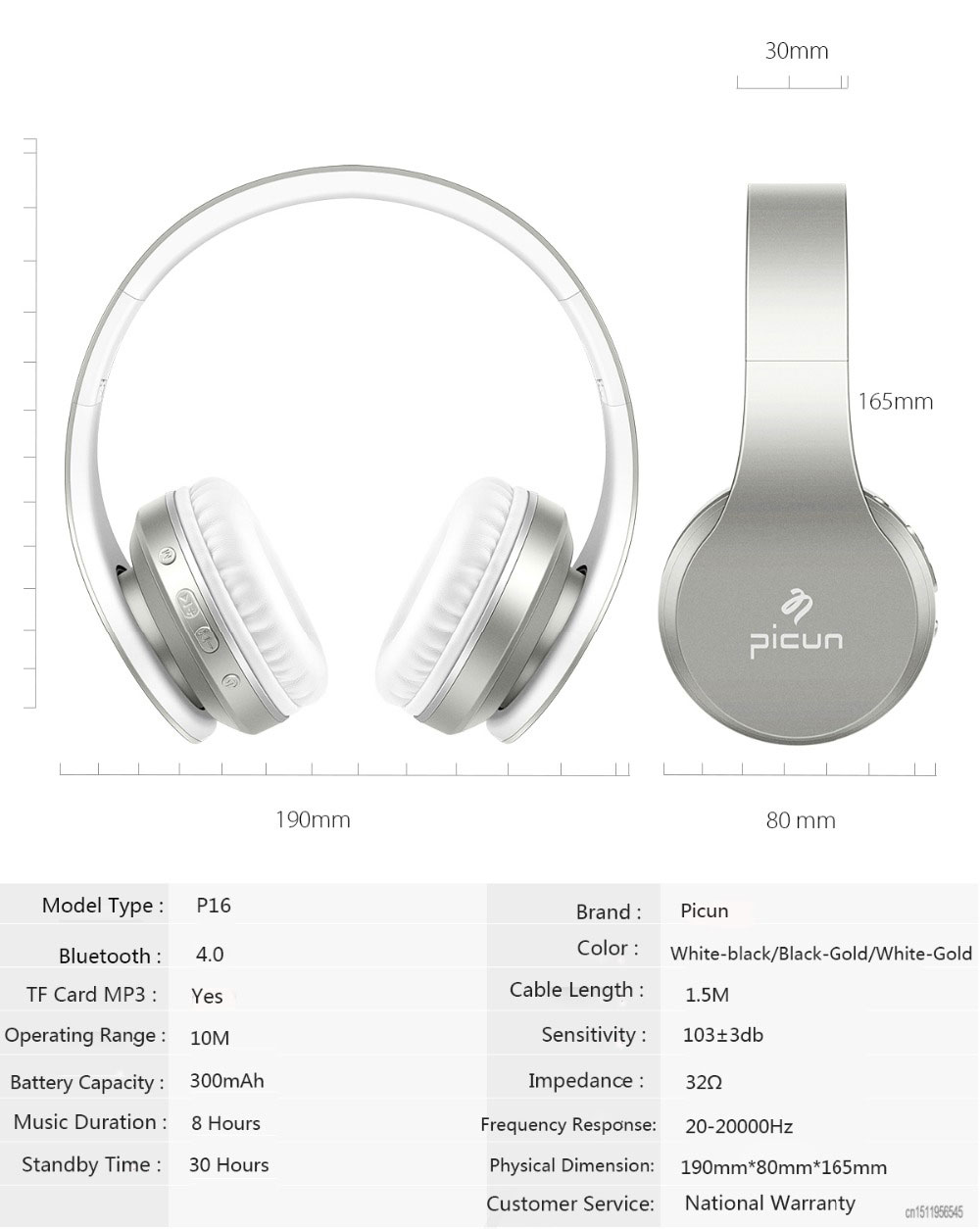 Picun P16 Bluetooth Headphone with Mic Soft Wirelesss Headphones Support Radio TF Card Headset For Xiaomi iphone 7 PC MP3
