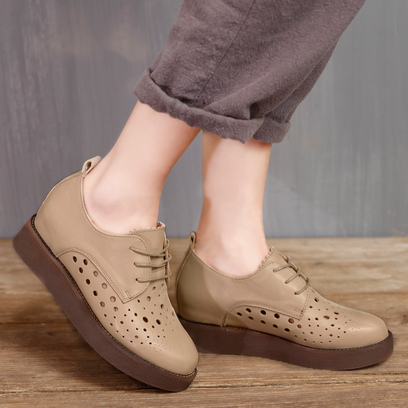 2017 Summer Womens Boots Beige Handmade Women Shoes Genuine Leather Cheap Lady Sandal Boot Spring Lace Up Brown Shoes Hollow Out<br><br>Aliexpress