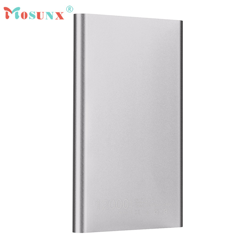 Hot-sale MOSUNX Ultra thin 12000mAh Portable USB External Battery Charger Power Bank + USB Charging Cable For Cell Phone<br><br>Aliexpress