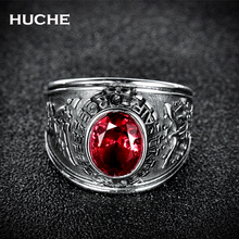 HUCHE Stainless Steel Synthetic Red United States Military Army Ring Signet Navy Airforce Marine Gift HYJBR144