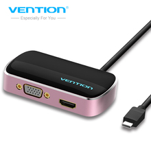 Vention USB3.1 USB C Type-C to HDMI 4K VGA USB HUB 3in1 Adapter Converter for Macbook Pro 2016 Google Chromebook Pixel(China)