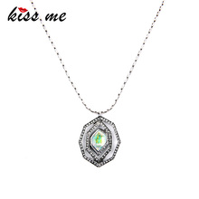 Hot Sale Colorful Imitation Gemstone Pendant Necklace Spring Long Women Jewelry Factory Wholesale