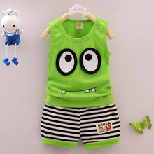 Summer Kid Clothes Set Cotton Cartoon Style Baby Boy/Girls Vest+ Stripe Shorts 2pcs Clothing Set Children Sport Suit