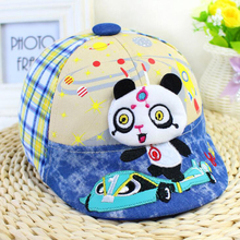 Interstellar Lovely Cap Panda Child Berets,England Lattice Hit color,1-5 years old Boys and girls, Cotton Duck Tongue Hat(China)