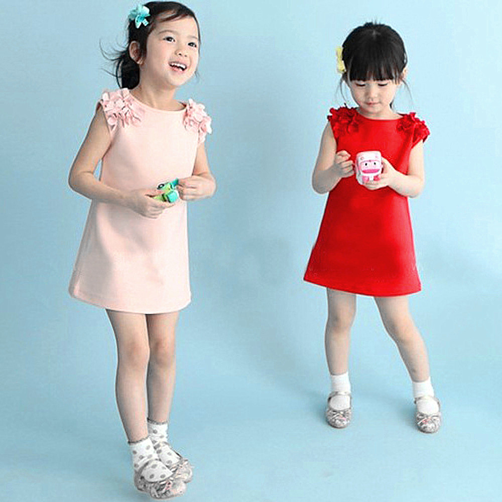 Girls Dresses Summer 2017 Kids Dresses For Girls Cute Toddler Girl 100%Cotton Flower Solid Casual Dress Robe Fille Costume<br><br>Aliexpress