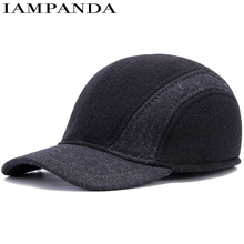 Iampanda Limited 2017 Wholesale Hairy Autumn And Winter New Baseball Cap Adjustable Men's Caps Warm Thicker Ear Middle-aged Hat