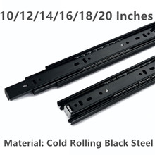 10/12/14/16/18/20 Inche Cold rolling black steel Drawer slide rail three section wardrobe ball slide rail track(China)