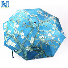 World Famous Oil Paintings Outdoor Beach UV Sun Rain Umbrella Women And Men Unisex Manual Three Folding Umbrellas(China)