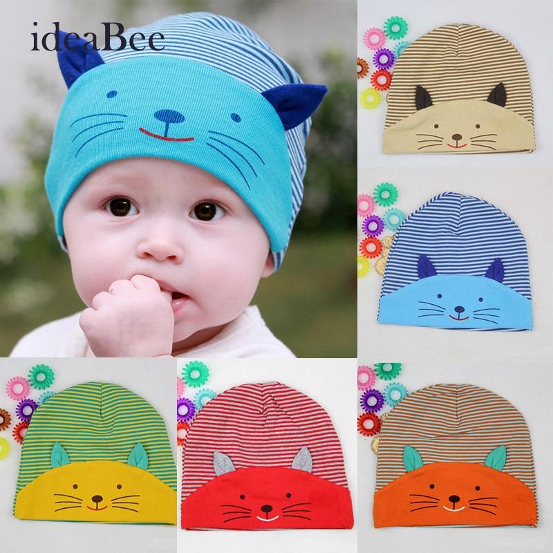 ideaBee New Hot Fashion Winter Baby cap New Lovely Cute Baby Boy Toodler Infant Striped Cotton Cap Cat Baby Beanies AccessoriesÎäåæäà è àêñåññóàðû<br><br><br>Aliexpress