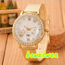 bowaiwen #0085 woman watches  Women Ladies Crystal Butterfly Gold Stainless Steel Mesh Band Wrist Watch
