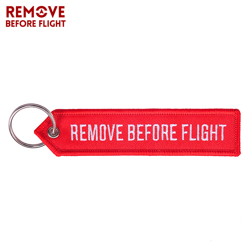 Remove Before Flight OEM Key Chains Berloques Red Embroidery Highlight Key Fobs Chains Jewelry Aviation Gifts Chaveiro Masculino (2)