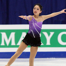 Customized Costume Ice Skating Figure Skating Dress Gymnastics Adult Child Girl Skirt Competition Purple Rhinestone Competition