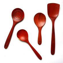 7pcs/set New Red Rosewood Cooking Tool Sets Seasoning Spoon Shovel Slotted Spoon Log Sets Kitchenware Japanese Style Quality