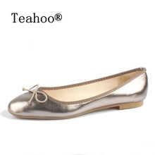 Elegant Bowtie Women Flats 2017Fashion Boat Shoes Woman Dress Flats Casual Brand Single Shoes Ladies Ballerina Flat Plus Size 41(China)