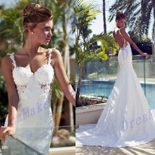 ZGS178 Low Price Luxury Pearls Wedding Dresses robe de mariage Spaghetti Straps Bridal Gowns Lace Mermaid Wedding Dresses 2017