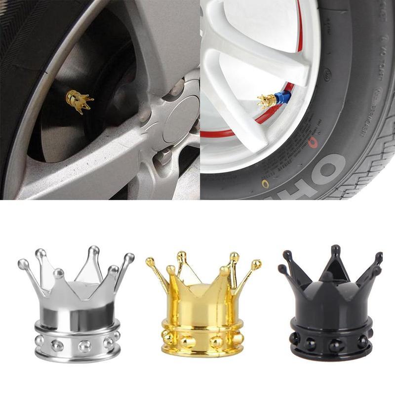 4pcs Universal Gold Crown Car Truck Tire Air Valve Stems Cover Caps Wheel Rims