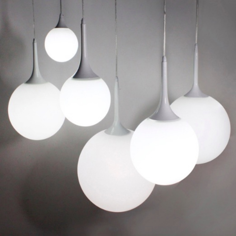 Modern Minimalism Creative Milk White Frosted Glass Ball Led E27 Pendant Light for Living Room Dining Room 1696<br>