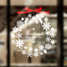 Christmas Window Decoration Wall Stickers New Year PVC Home Decoration Ring Snowflake Christmas Wall Decal
