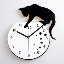 Creative personality mute wall clock cat wandklok wanduhr kitchen home decor relojes pared relojes de cocina acrylic quartz(China)