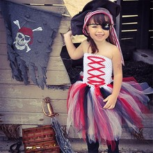 Latest Children Girls Cosplay Outfits Girl Dress Pirate Costume Girl Tutu Dress Kids Party Dresses Baby Birthday Clothing(China)