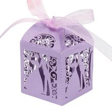 50Pcs/set bride and groom Shape Wedding Candy Box Sweets Gift Favor Boxes With Ribbon 5 Colors