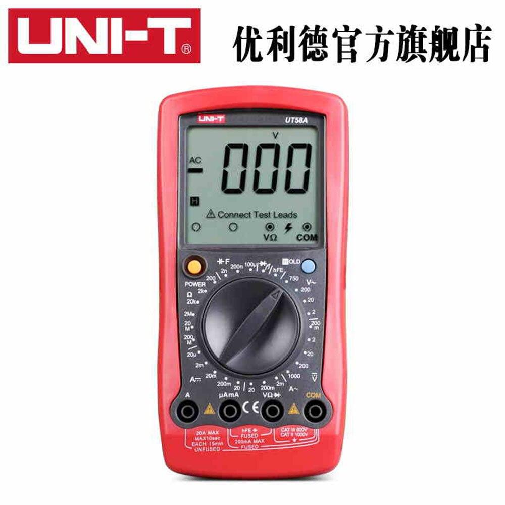 Original UNIT UT58A Professional Electric Digital Multimeter LCD Digital Multimeter AC DC Voltage Current Capacitance<br><br>Aliexpress