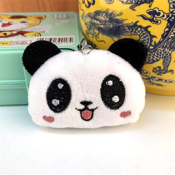 Fashion Panda Emoji Plush Toys Key Chain Ring Pom Bear Keychain Woman Bag Charms Man Car Keyring Wedding Party Trinket Jewelry (22)