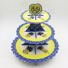 1set  Yellow Minions cartoon 3-tier cake stand baby shower party decoration Kids Birthday Party Supplies Party Favor Decoration