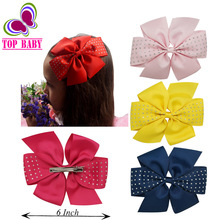 "20 Colors High Quality Big 6"" Grosgrain Boutique Rhinestone Pinwheel Hair Bow  With Hair Clips For Kids Hair Accessories"
