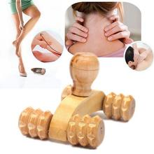 Random Wood Full-body Four Wheels Wooden Roller Relaxing Massage Tool Reflexology Neck Therapy promote blood circulation MY223(China)