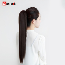 Buy AOSIWIG 24'' Long Black Synthetic Ponytail Long Hair Natural Fake Hair Tail Hairpieces Women Hairstyles Heat Resistant Fake Hair for $7.11 in AliExpress store