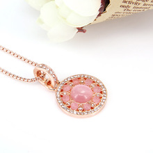 Thomas Style Pink Ornament Disc Flower Necklaces & Pendants Rose Gold Color New Brand Fashion Jewelry For Women TS Gifts Collier