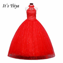 Free shipping red Vestidos De Novia 2015 white plus size lace wedding dress cheap China wedding gowns halter bridal dress HS160(China)