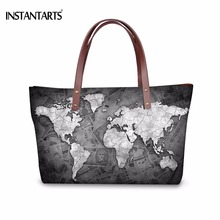 INSTANTARTS Fashion World Map Printed Women Large Tote Shoulder Bags Brand Designer Beach Bag High Quality Blue Female Handbags