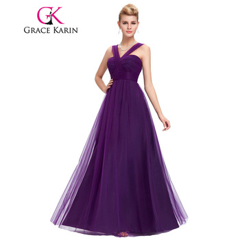 Grace Karin Mous Robe De Soirée Tulle Pourpre Élégant Longue Formelle Robes De Soirée Dos Nu Empire Taille Dîner Robes de Partie De Mode