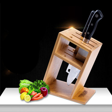 High Quality Bamboo Knife Holder Ventilated Dry Kitchen Knife Block Creative Multifunctional Wood Knife Rest Kitchen Accessories