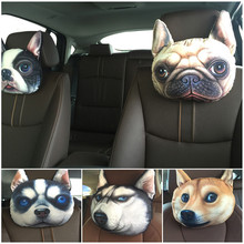 Latest Cute 3D Printed Animals Face Car Headrest Pillowcase Seat Covers Neck Auto Safety Headrest Supplies Without Filling(China)