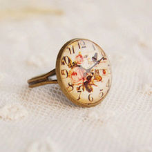 Wholesale Vintage Simulated Clock Design Adjustable Cameo Rings Costume Jewelry Rings 12pcs/lot JZ013(China)