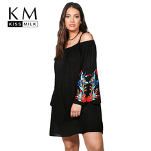 Kissmilk Women Plus Size Floral Embroidery Off Shoulder Loose Shift Dress Boho Long Sleeves Black Party Dress Large Size