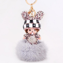 MONCHICHI LOVELY RABBIT BUNNY EARS DESIGN KEYRING KEYCHAIN PENDANT FOR BAG CHARMS CAR PENDANT GIRL WOMAN ACCESSORY