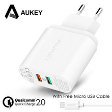 AUKEY 30W Mobile Phone Charger QC 2.0 Quick Charge Tech Wall Charger USB Dual Ports Universal Travel Fast Charging for Phone Tab(China)