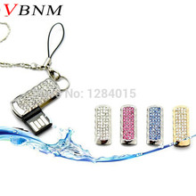 VBNM mini Crystal chain USB Flash Drive Girl's gift fashion Mini pen drive 4GB 8GB 16GB memory stick usb creativo key chain(China)