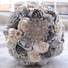 Buy Customized made 2017 Bridal Wedding Bouquet de mariage Pearls Bridesmaid Artificial Wedding Bouquets Crystal buque de noiva for $48.36 in AliExpress store