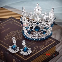 Small Round mantanan crystal crown with earrings wedding party hair accessary glass with pearl high quality queen style tiara